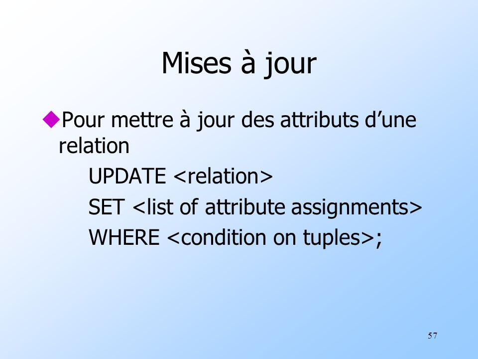 57 Mises à jour uPour mettre à jour des attributs dune relation UPDATE SET WHERE ;