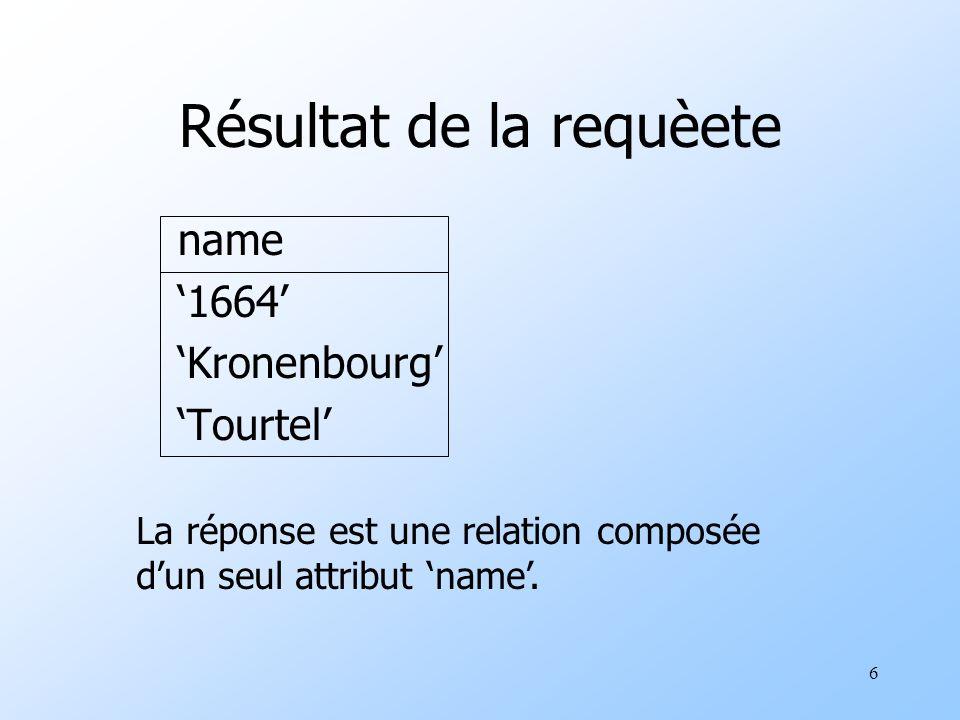 6 Résultat de la requèete name 1664 Kronenbourg Tourtel La réponse est une relation composée dun seul attribut name.