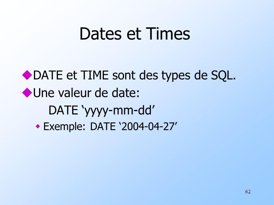 62 Dates et Times uDATE et TIME sont des types de SQL.