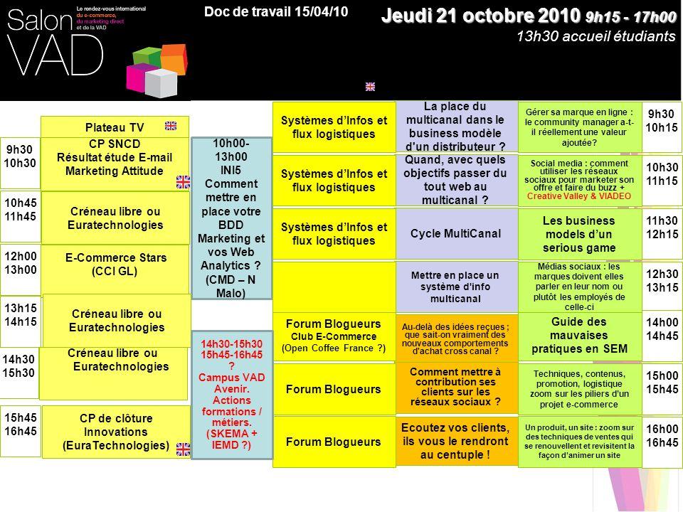E-Commerce Stars (CCI GL) 9h30 10h30 Jeudi 21 octobre 2010 9h15 - 17h00 13h30 accueil étudiants 10h45 11h45 12h00 13h00 14h30 15h30 15h45 16h45 10h00-