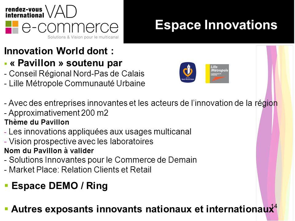 14 Espace Innovations Innovation World dont : « Pavillon » soutenu par - Conseil Régional Nord-Pas de Calais - Lille Métropole Communauté Urbaine - Av