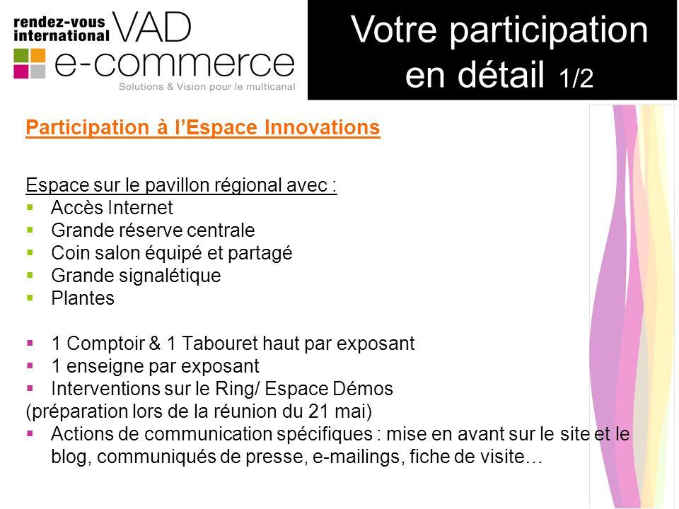 Participation à lEspace Innovations Espace sur le pavillon régional avec : Accès Internet Grande réserve centrale Coin salon équipé et partagé Grande