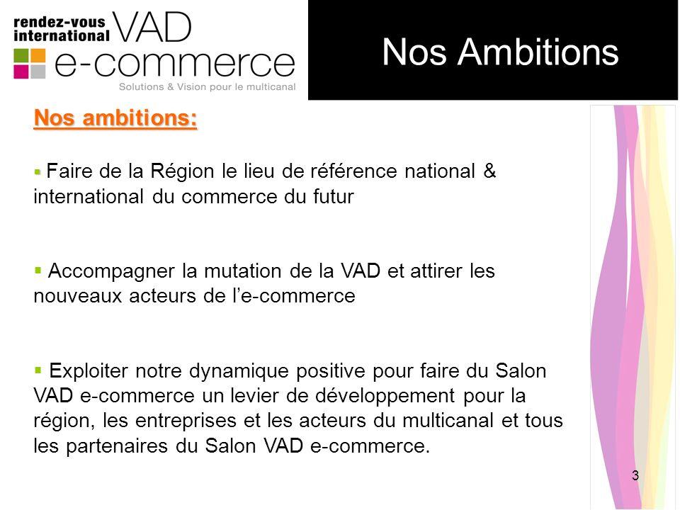3 Nos Ambitions Nos ambitions: Faire de la Région le lieu de référence national & international du commerce du futur Accompagner la mutation de la VAD