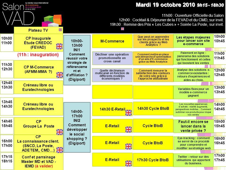 15h15 16h15 Créneau libre ou Euratechnologies Metrics Plénière 9h30 10h30 Mercredi 20 octobre 2010 9h15 - 19h00 10h45 11h45 12h30 13h30 14h00 15h00 16h30 17h15 10h00- 13h00 INI3 Comment vous lancer dans la Vente A Distance multicanal avec succès .