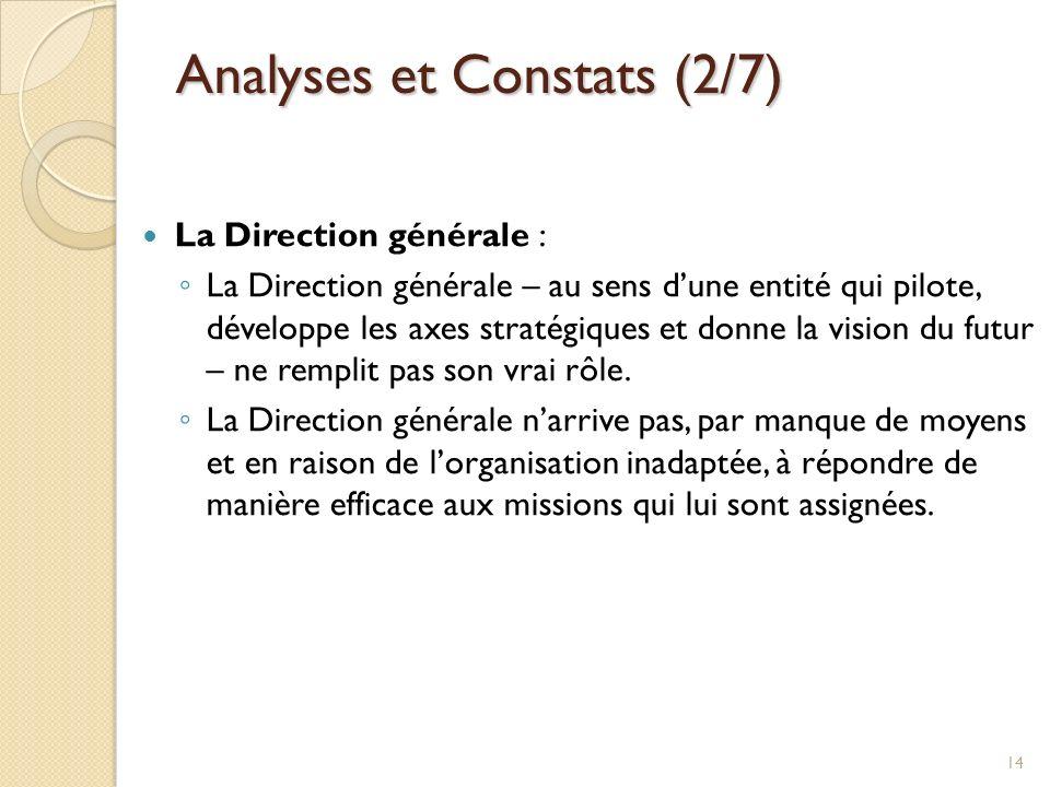 Analyses et Constats (2/7) La Direction générale : La Direction générale – au sens dune entité qui pilote, développe les axes stratégiques et donne la