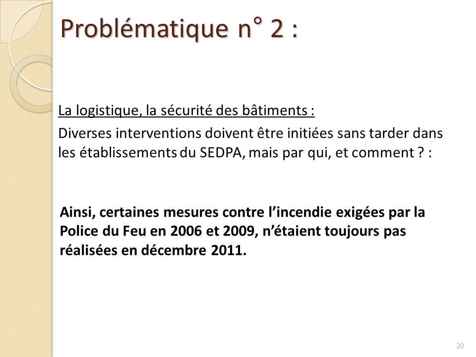 Problématique n° 2 : La logistique, la sécurité des bâtiments : Diverses interventions doivent être initiées sans tarder dans les établissements du SE