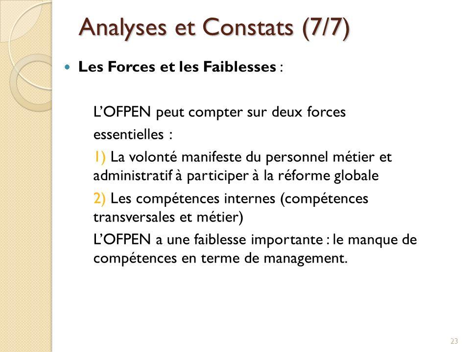 Analyses et Constats (7/7) Les Forces et les Faiblesses : LOFPEN peut compter sur deux forces essentielles : 1) La volonté manifeste du personnel méti