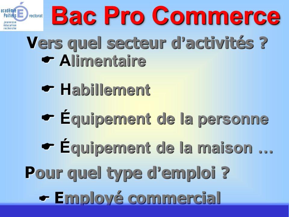 JMJ / Commerce Vente - AC Poitiers 2007 Une formation qui allie enseignement général et professionnel Bac Pro Commerce Enseignement professionnel 34 % Période de formation en milieu professionnel 26 % Enseignement général 40 %