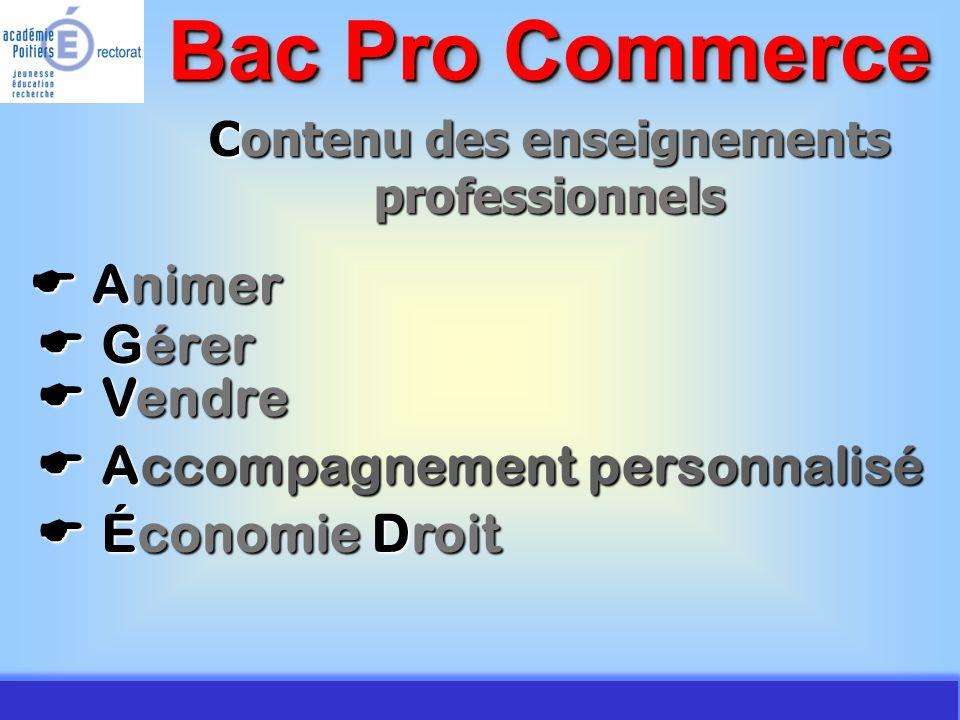 JMJ / Commerce Vente - AC Poitiers 2007 Contenu des enseignements professionnels Animer Animer Bac Pro Commerce Gérer Gérer Vendre Vendre Accompagneme