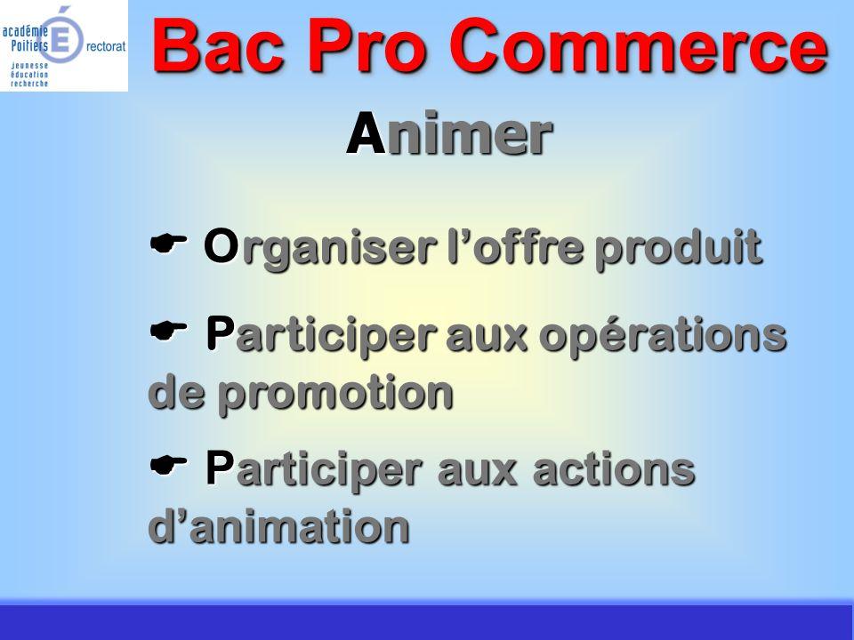 JMJ / Commerce Vente - AC Poitiers 2007 Animer Organiser l offre produit Organiser l offre produit Bac Pro Commerce Participer aux opérations de promo