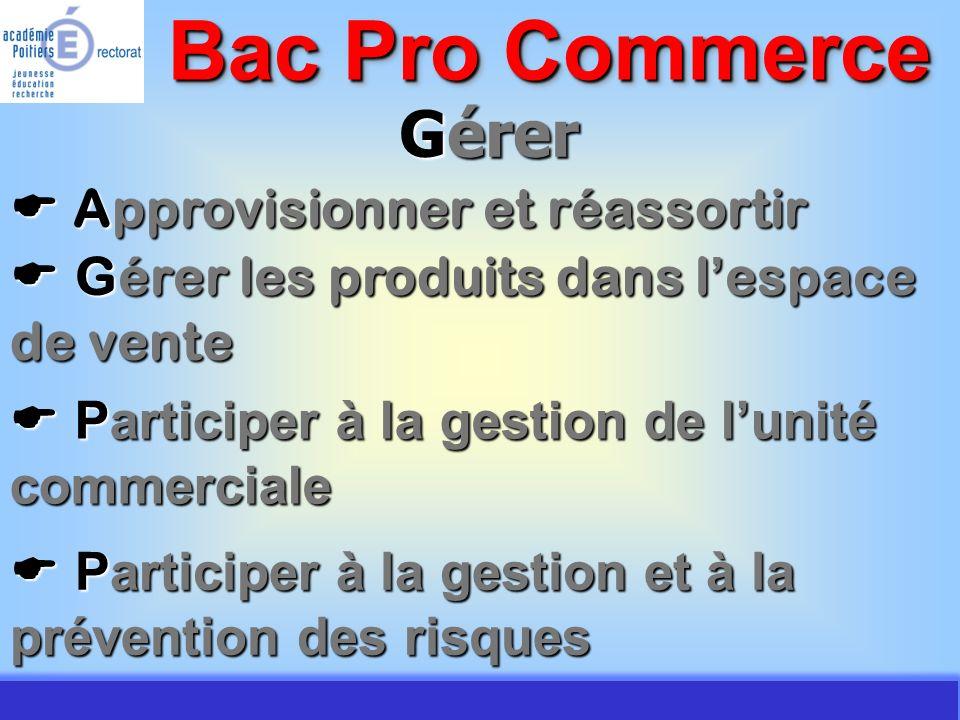 JMJ / Commerce Vente - AC Poitiers 2007 Gérer Approvisionner et réassortir Approvisionner et réassortir Bac Pro Commerce Gérer les produits dans l esp