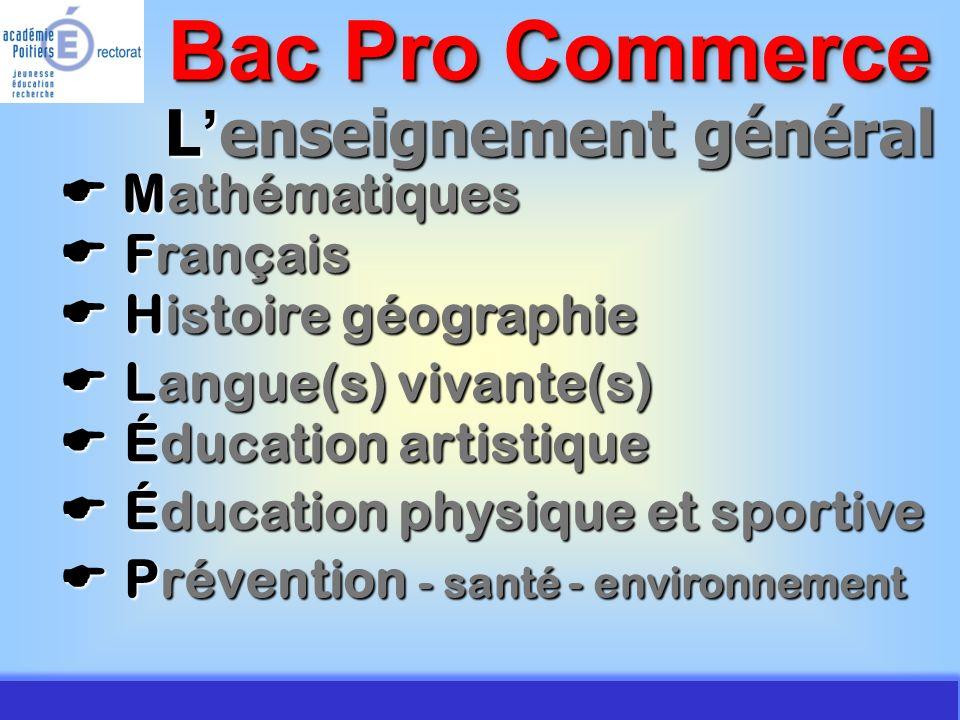JMJ / Commerce Vente - AC Poitiers 2007 Périodes de formation en milieu professionnel Bac Pro Commerce Seconde Seconde - 8 semaines sur 2 périodes Première Première - 10 semaines sur 2 périodes Terminale Terminale - 8 semaines sur 2 périodes