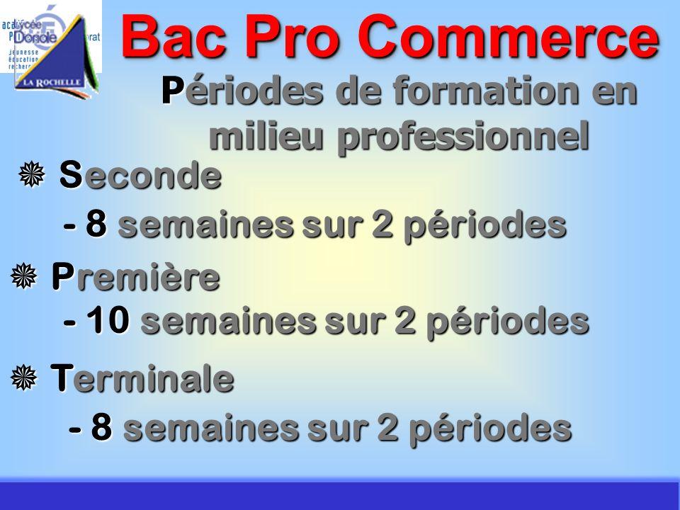 JMJ / Commerce Vente - AC Poitiers 2007 Périodes de formation en milieu professionnel Bac Pro Commerce Seconde Seconde - 8 semaines sur 2 périodes Pre