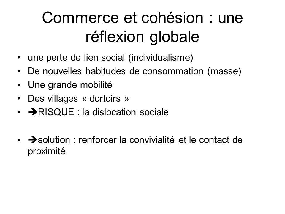 Commerce et cohésion : une réflexion globale une perte de lien social (individualisme) De nouvelles habitudes de consommation (masse) Une grande mobilité Des villages « dortoirs » RISQUE : la dislocation sociale solution : renforcer la convivialité et le contact de proximité