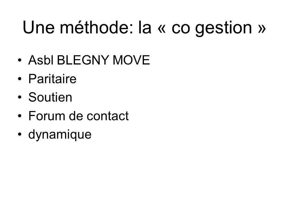 Une méthode: la « co gestion » Asbl BLEGNY MOVE Paritaire Soutien Forum de contact dynamique
