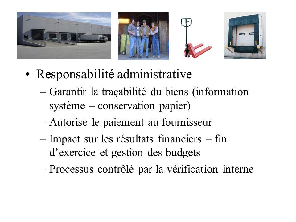 Responsabilité administrative –Garantir la traçabilité du biens (information système – conservation papier) –Autorise le paiement au fournisseur –Impa
