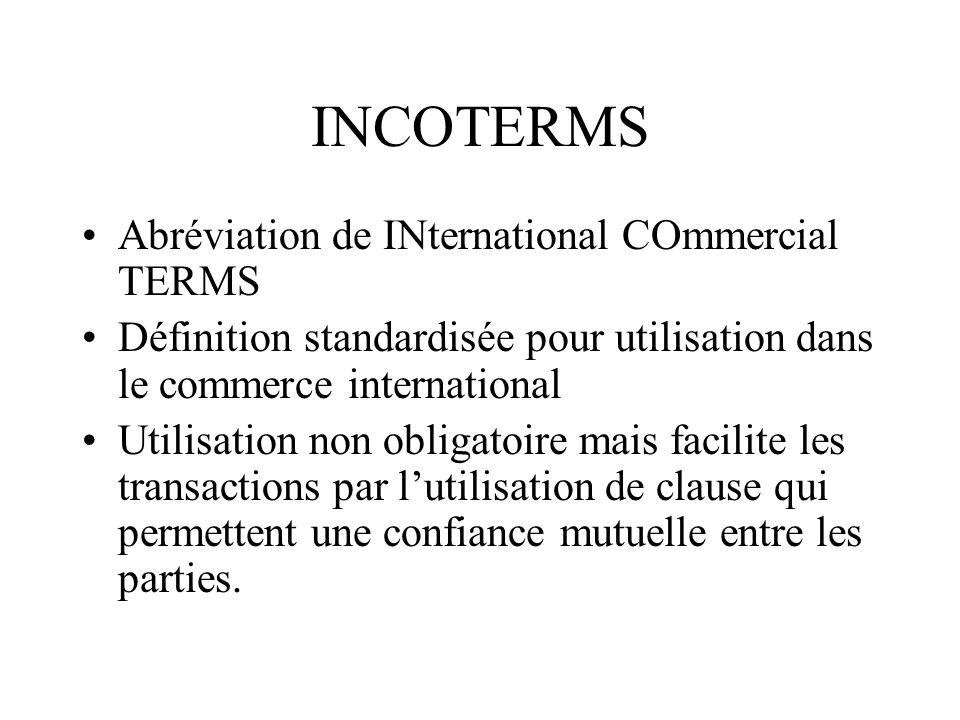 INCOTERMS Abréviation de INternational COmmercial TERMS Définition standardisée pour utilisation dans le commerce international Utilisation non obliga