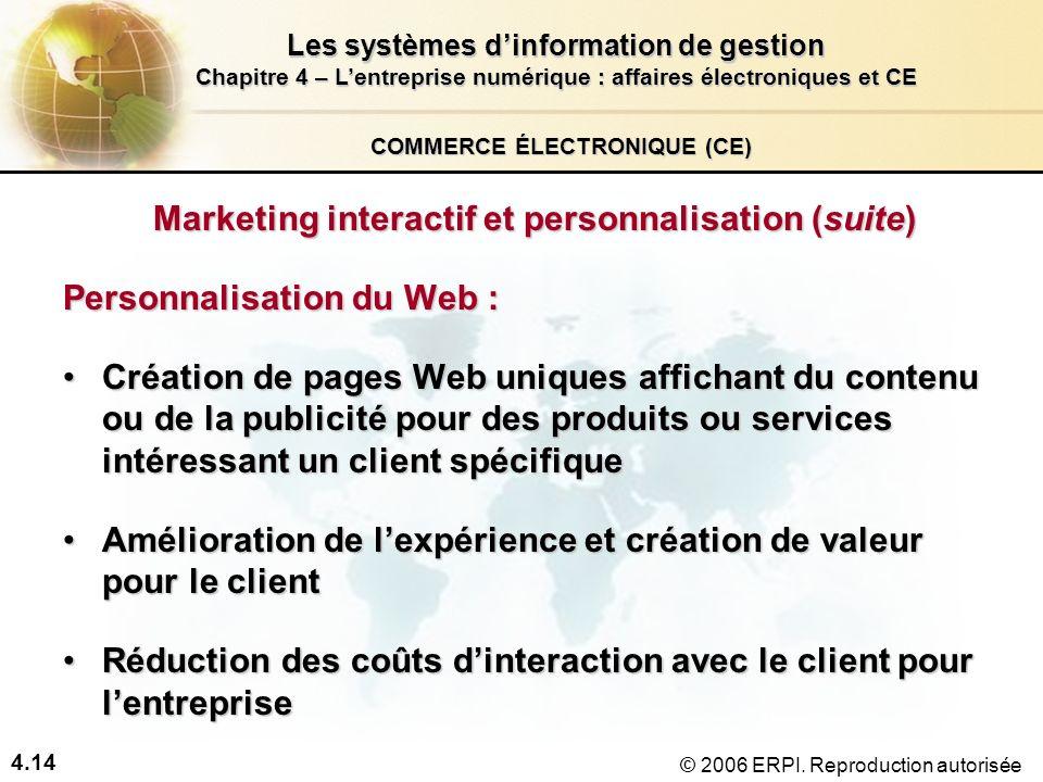 4.14 Les systèmes dinformation de gestion Chapitre 4 – Lentreprise numérique : affaires électroniques et CE © 2006 ERPI. Reproduction autorisée COMMER