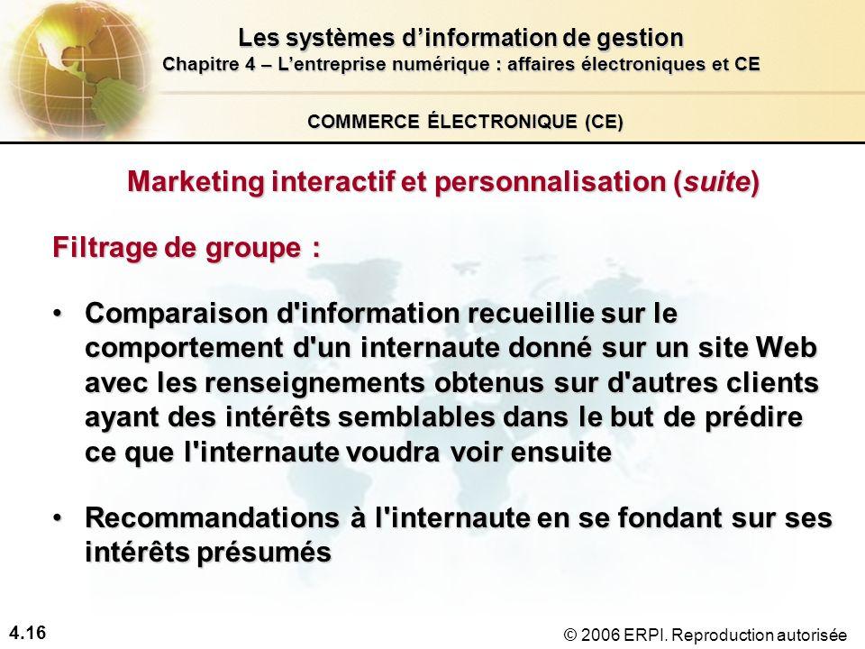 4.16 Les systèmes dinformation de gestion Chapitre 4 – Lentreprise numérique : affaires électroniques et CE © 2006 ERPI. Reproduction autorisée COMMER