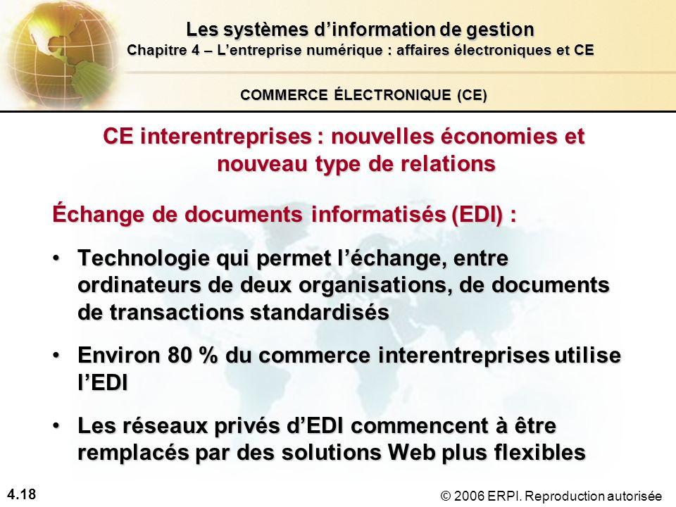 4.18 Les systèmes dinformation de gestion Chapitre 4 – Lentreprise numérique : affaires électroniques et CE © 2006 ERPI. Reproduction autorisée COMMER
