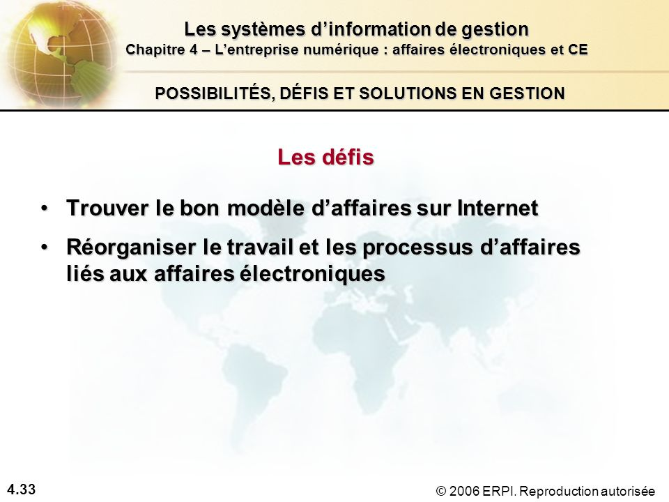 4.33 Les systèmes dinformation de gestion Chapitre 4 – Lentreprise numérique : affaires électroniques et CE © 2006 ERPI. Reproduction autorisée POSSIB