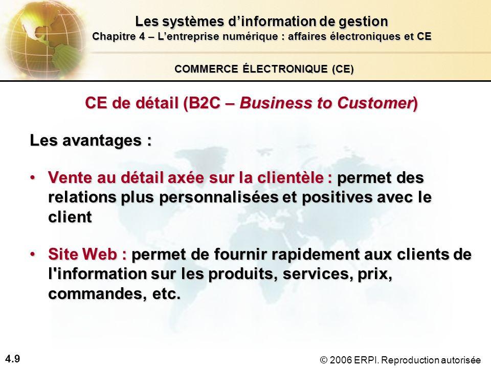 4.9 Les systèmes dinformation de gestion Chapitre 4 – Lentreprise numérique : affaires électroniques et CE © 2006 ERPI. Reproduction autorisée COMMERC