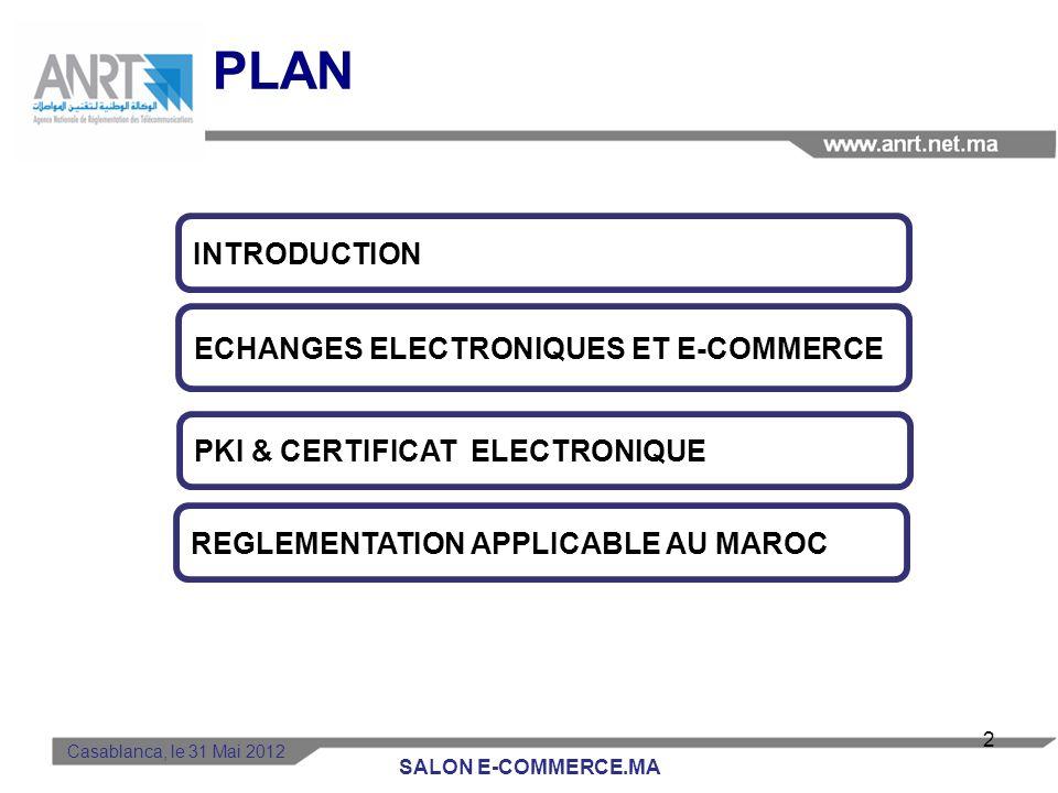 PLAN Casablanca, le 31 Mai 2012 PKI & CERTIFICAT ELECTRONIQUE REGLEMENTATION APPLICABLE AU MAROC INTRODUCTION ECHANGES ELECTRONIQUES ET E-COMMERCE 2 SALON E-COMMERCE.MA