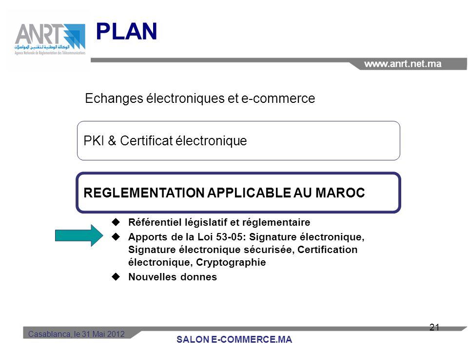 Casablanca, le 31 Mai 2012 Le certificat électronique Le certificat est une Carte d'identité électronique –Il garantit un contenu : identité, caractér