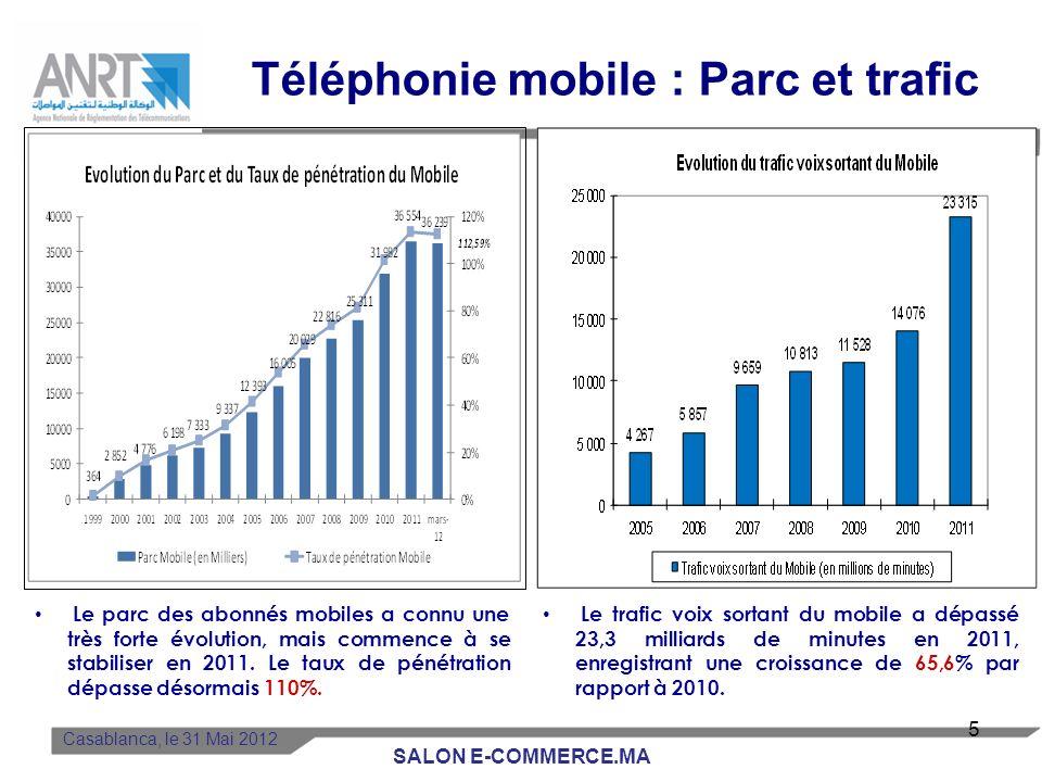 Le parc des abonnés mobiles a connu une très forte évolution, mais commence à se stabiliser en 2011.