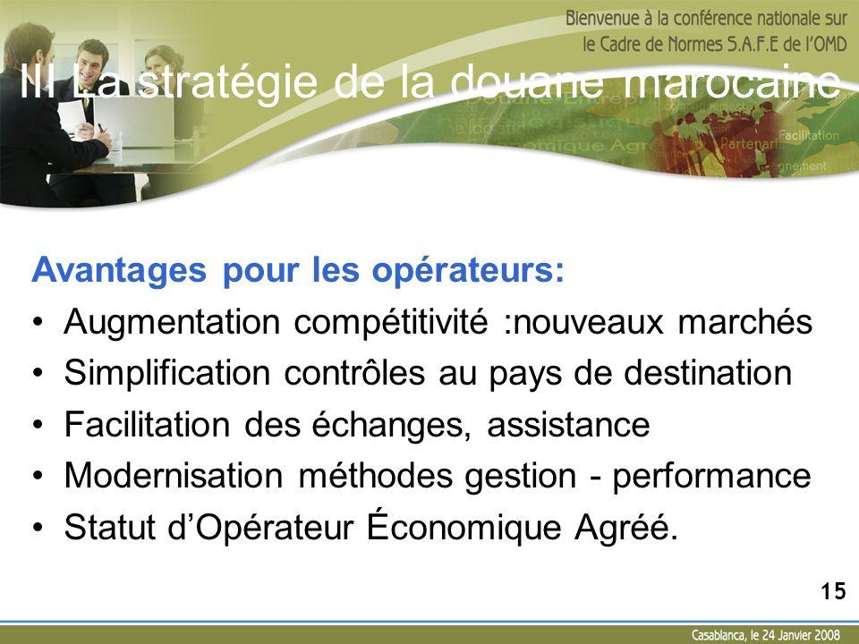 III La stratégie de la douane marocaine Avantages pour les opérateurs: Augmentation compétitivité :nouveaux marchés Simplification contrôles au pays d