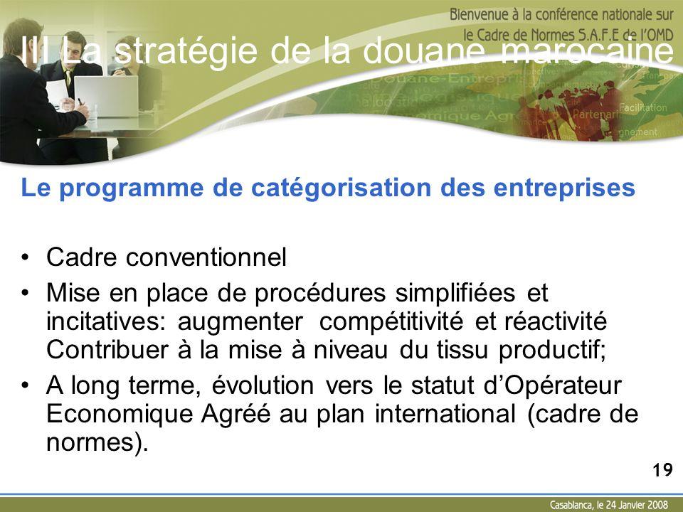 Le programme de catégorisation des entreprises Cadre conventionnel Mise en place de procédures simplifiées et incitatives: augmenter compétitivité et