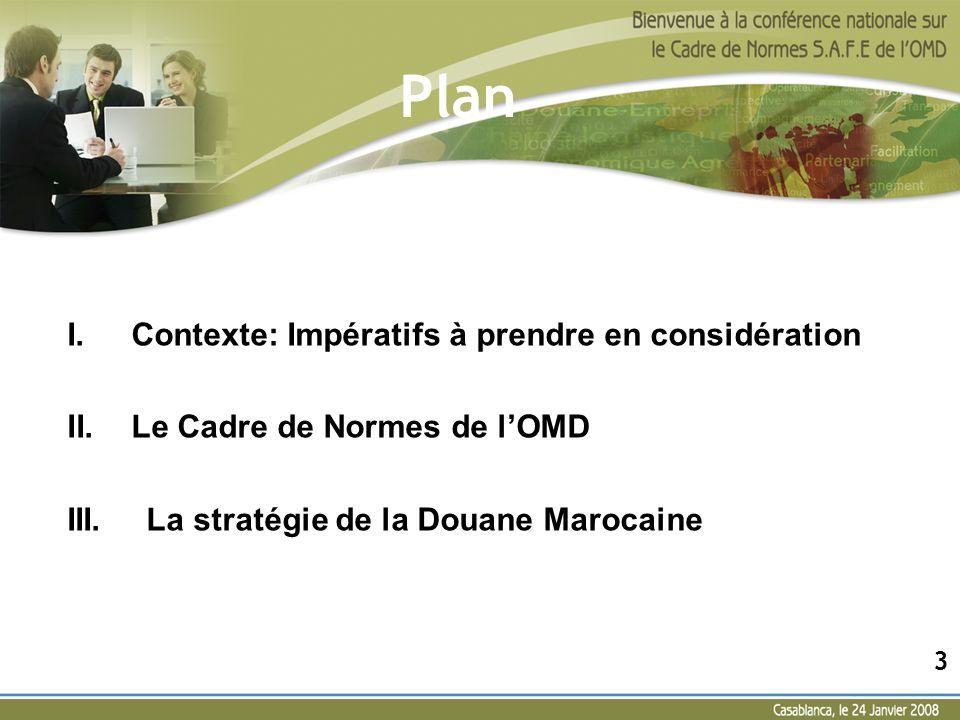 Plan I.Contexte: Impératifs à prendre en considération II.Le Cadre de Normes de lOMD III. La stratégie de la Douane Marocaine 3