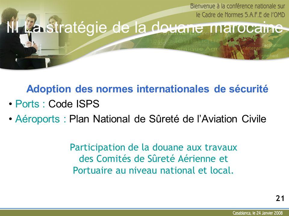 III La stratégie de la douane marocaine Adoption des normes internationales de sécurité Ports : Code ISPS Aéroports : Plan National de Sûreté de lAvia