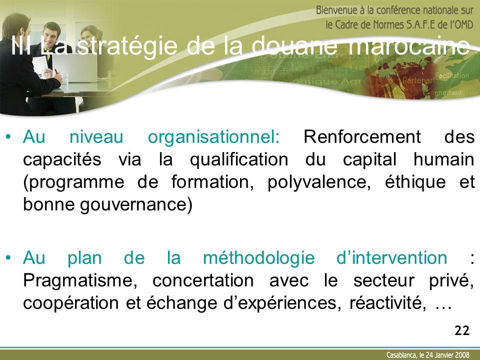 III La stratégie de la douane marocaine Au niveau organisationnel: Renforcement des capacités via la qualification du capital humain (programme de for