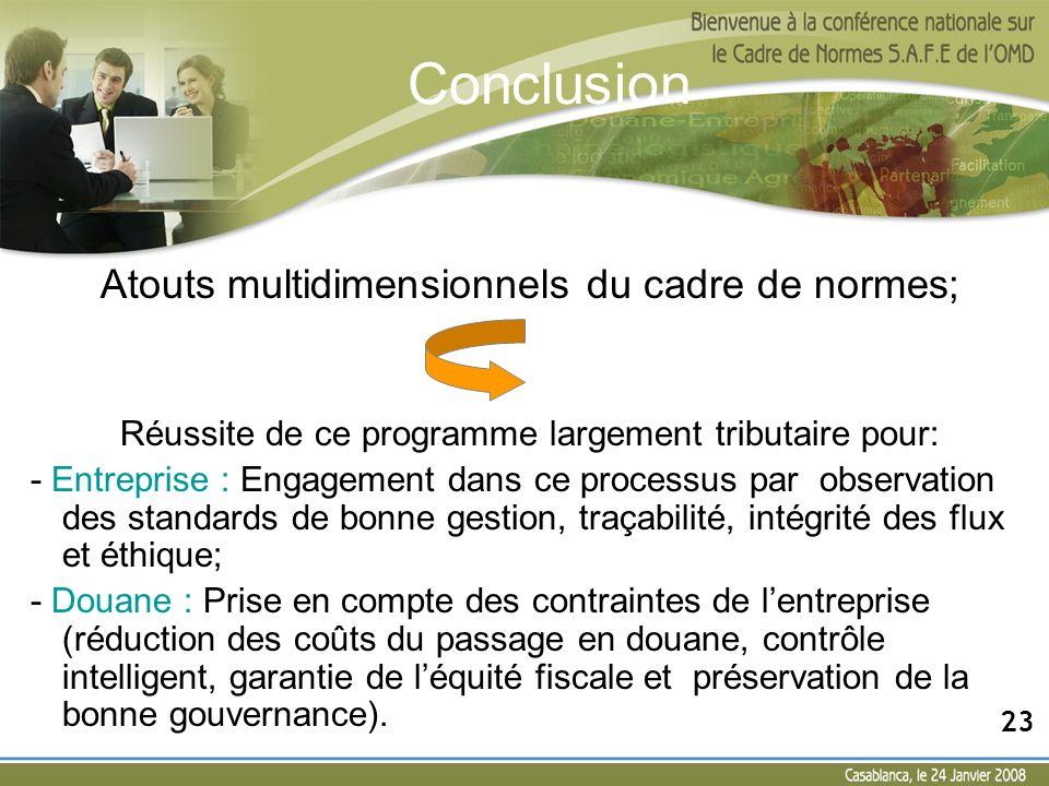 Atouts multidimensionnels du cadre de normes; Réussite de ce programme largement tributaire pour: - Entreprise : Engagement dans ce processus par obse