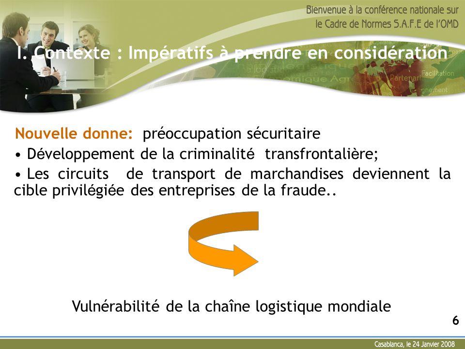 III La stratégie de la douane marocaine Mesures prises: Un diagnostic interne : qui a permis de dégager les écarts par rapport à ce référentiel; Le diagnostic de lOMD : Mission dévaluation + recommandations ; Un plan stratégique.
