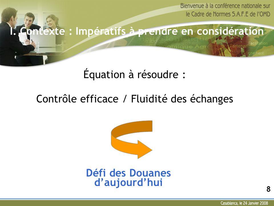 Équation à résoudre : Contrôle efficace / Fluidité des échanges 8 I. Contexte : Impératifs à prendre en considération Défi des Douanes daujourdhui