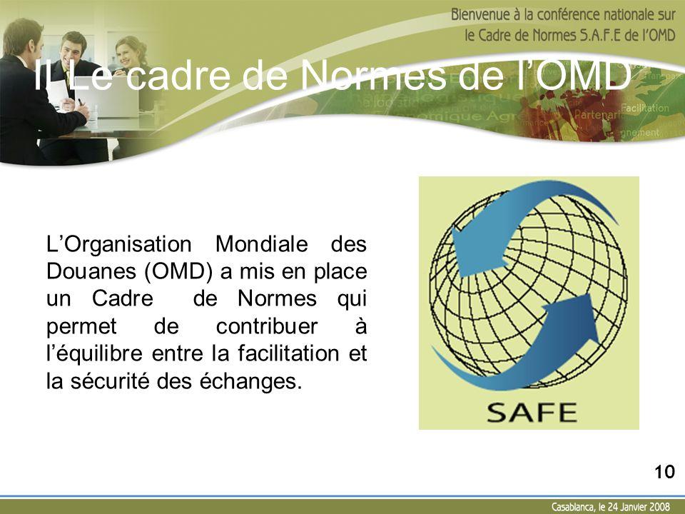 II Le cadre de Normes de lOMD Structure du Cadre de Normes Basé sur 2 piliers : Le pilier douane/ douane (11 normes); Le pilier douane/ entreprise (6 normes); 11