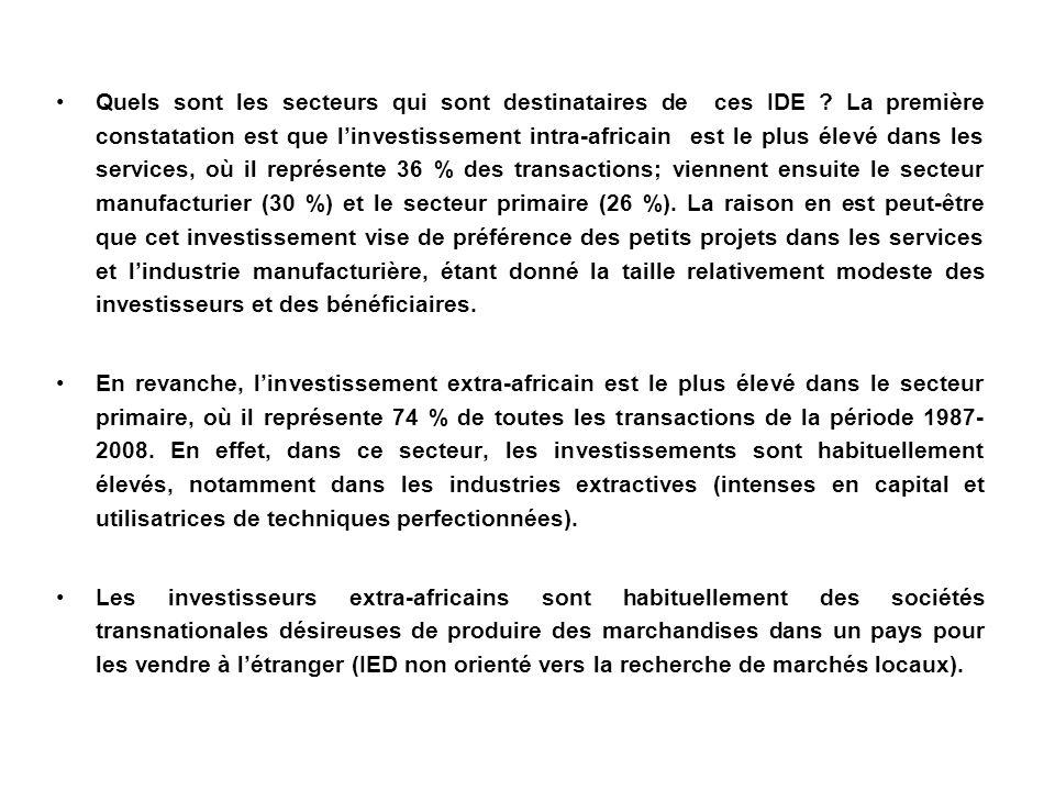 Quels sont les secteurs qui sont destinataires de ces IDE ? La première constatation est que linvestissement intra-africain est le plus élevé dans les