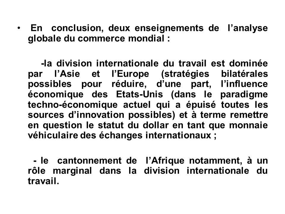 En conclusion, deux enseignements de lanalyse globale du commerce mondial : -la division internationale du travail est dominée par lAsie et lEurope (s