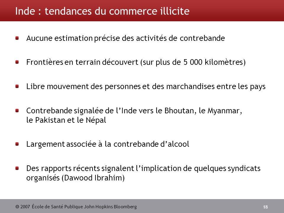2007 École de Santé Publique John Hopkins Bloomberg 18 Inde : tendances du commerce illicite Aucune estimation précise des activités de contrebande Fr