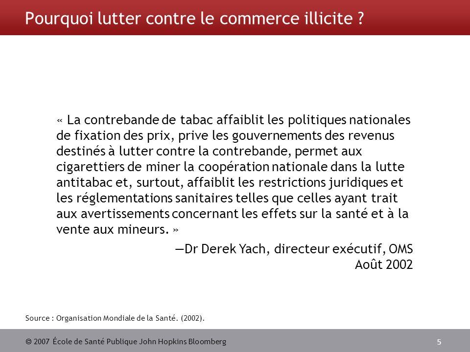 2007 École de Santé Publique John Hopkins Bloomberg 5 Pourquoi lutter contre le commerce illicite ? Source : Organisation Mondiale de la Santé. (2002)