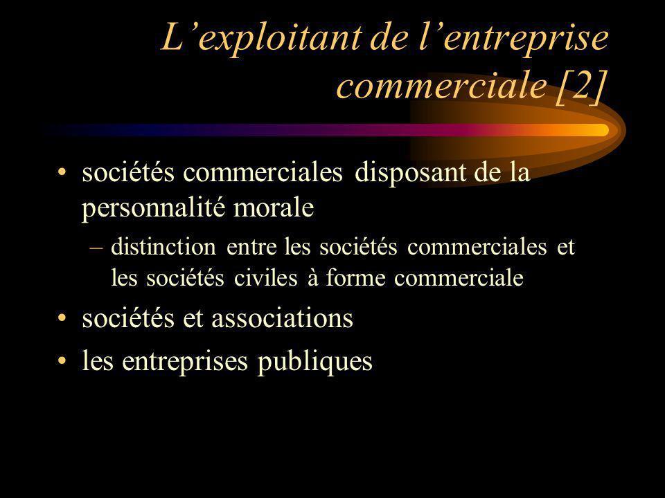 Lexploitant de lentreprise commerciale [2] sociétés commerciales disposant de la personnalité morale –distinction entre les sociétés commerciales et les sociétés civiles à forme commerciale sociétés et associations les entreprises publiques