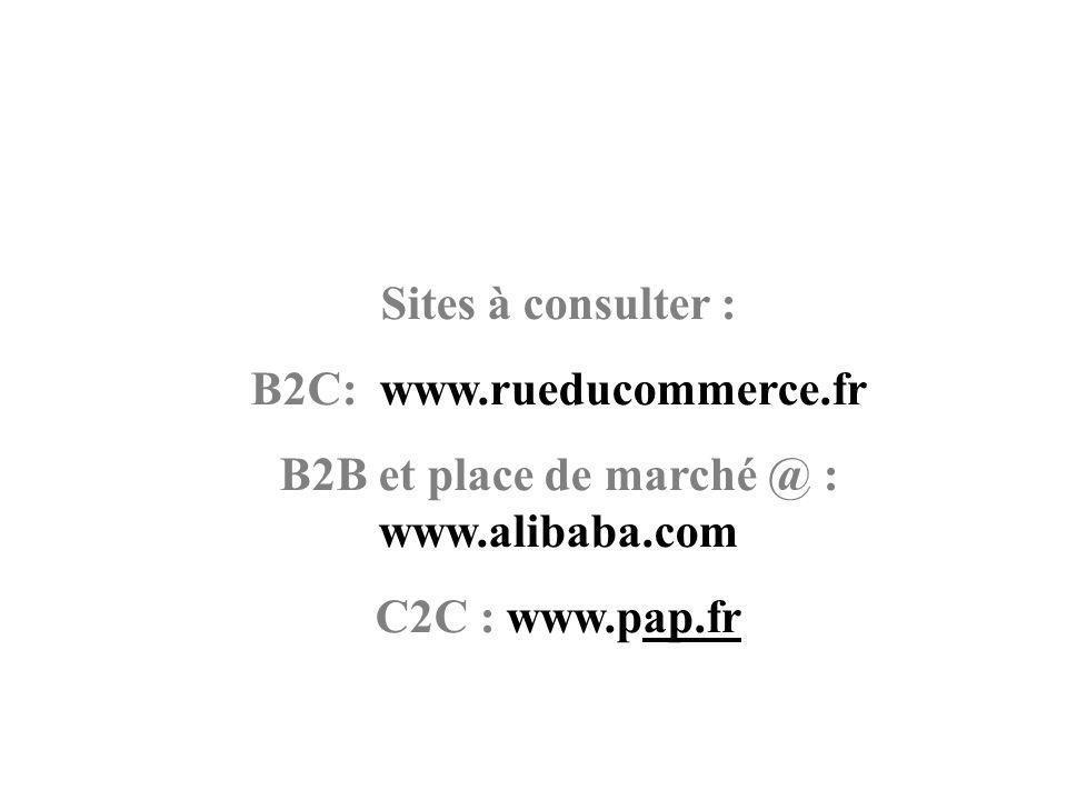 Sites à consulter : B2C: www.rueducommerce.fr B2B et place de marché @ : www.alibaba.com C2C : www.pap.fr