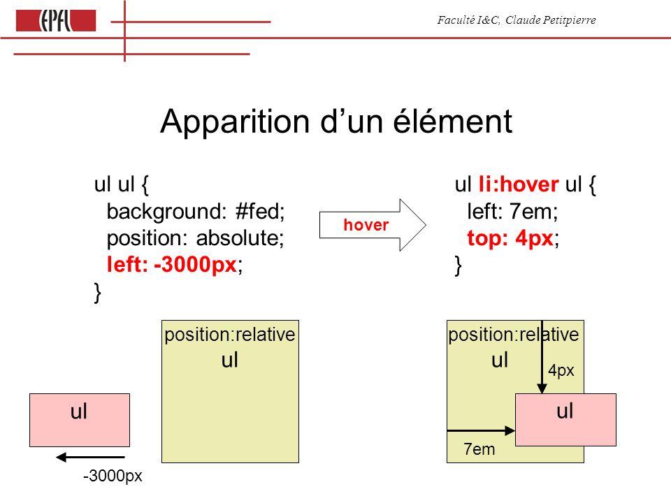 Faculté I&C, Claude Petitpierre Apparition dun élément ul ul { background: #fed; position: absolute; left: -3000px; } ul li:hover ul { left: 7em; top: 4px; } ul -3000px ul position:relative ul position:relative ul 7em 4px hover