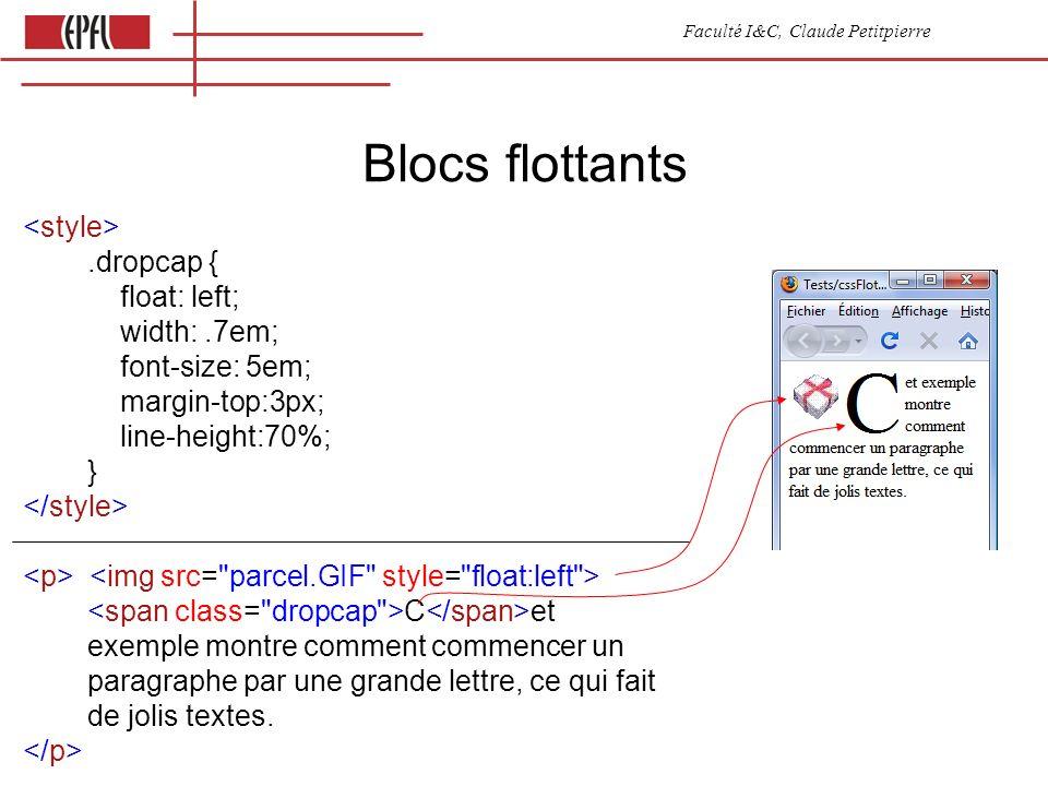 Faculté I&C, Claude Petitpierre Blocs flottants.dropcap { float: left; width:.7em; font-size: 5em; margin-top:3px; line-height:70%; } C et exemple montre comment commencer un paragraphe par une grande lettre, ce qui fait de jolis textes.
