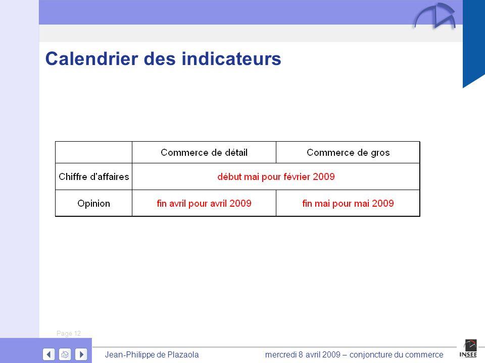 Page 12 Jean-Philippe de Plazaolamercredi 8 avril 2009 – conjoncture du commerce Calendrier des indicateurs