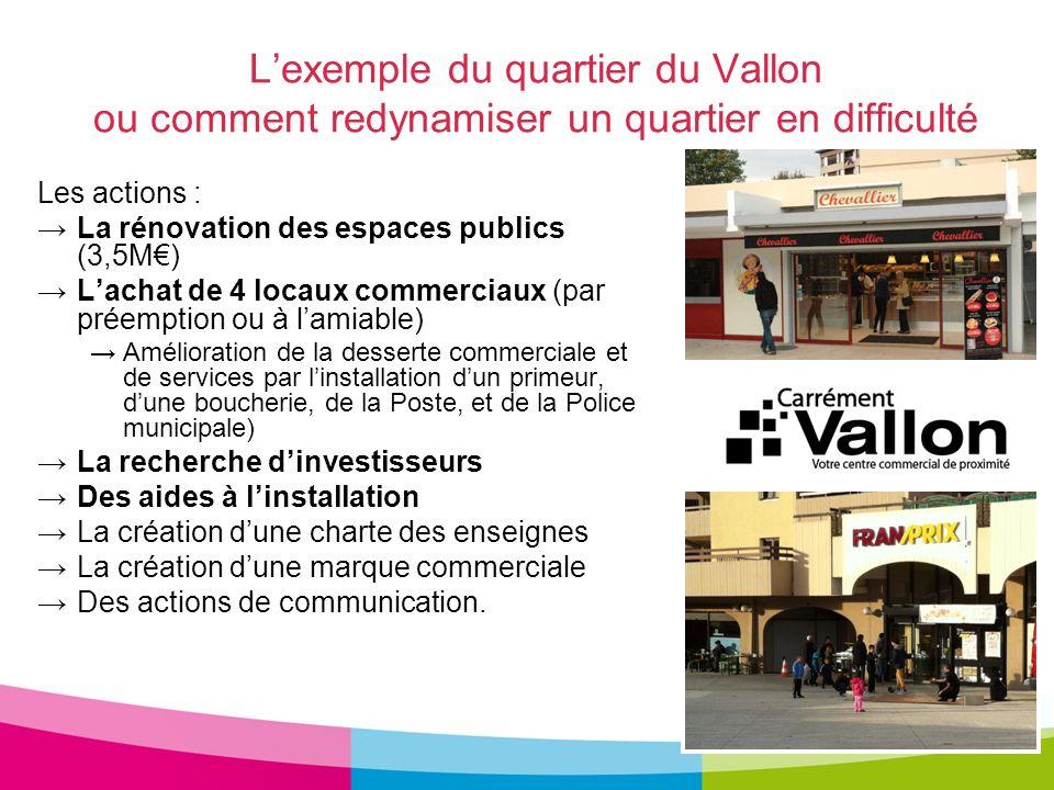 Lexemple du quartier du Vallon ou comment redynamiser un quartier en difficulté Les actions : La rénovation des espaces publics (3,5M) Lachat de 4 loc