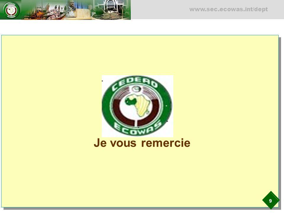 9 www.sec.ecowas.int/dept Je vous remercie