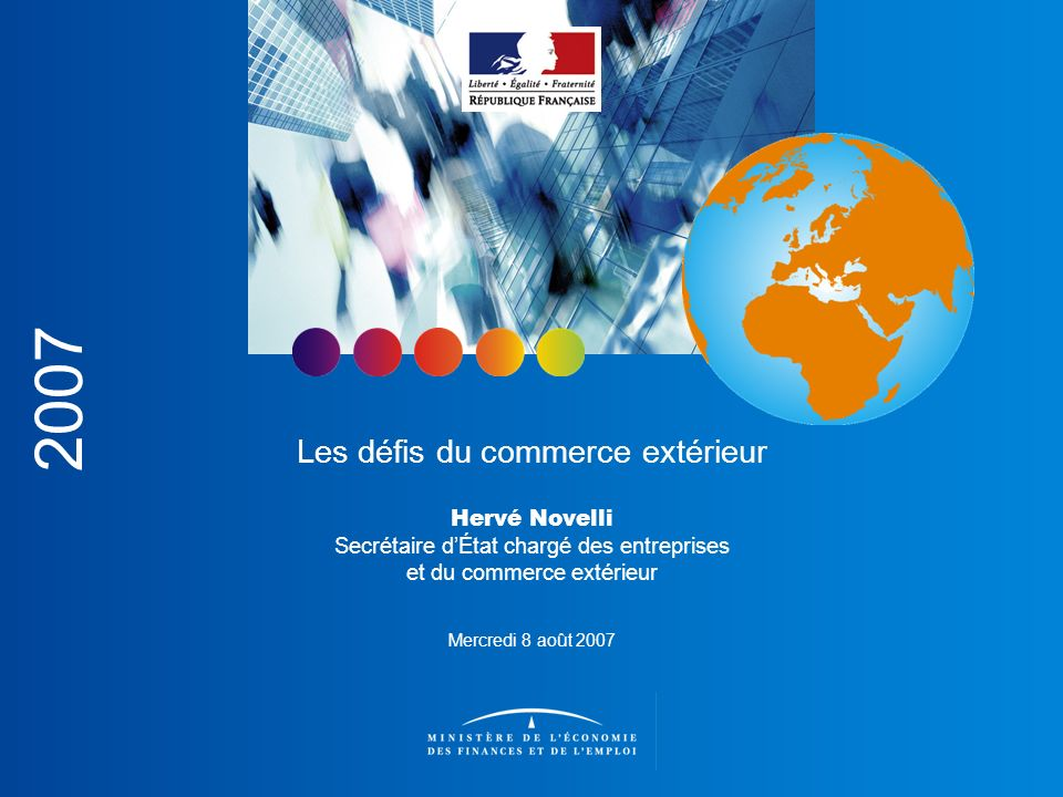 Les défis du commerce extérieur Aller au-delà des chiffres du commerce extérieur pour mieux comprendre les enjeux de notre compétitivité Introduction